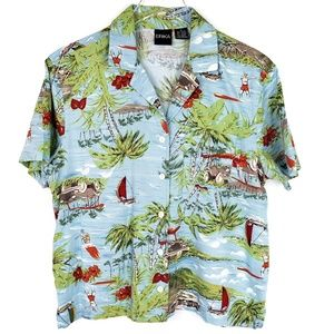 Vintage Hawaiian button down Erika 80s Rayon Palm